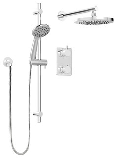 Round Shower Faucet With Thermostatic Diverter Valve, Sliding Bar, Shower Head,