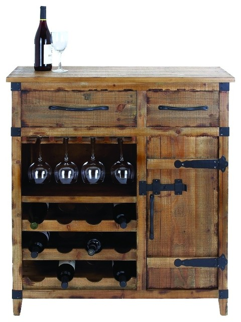 rustic bar cabinet woodland imports vintage style wine cabinet rustic brown 25720