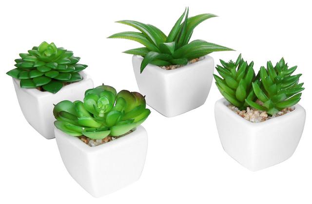 artificial 4-piece succulent plant set in ceramic pots, white