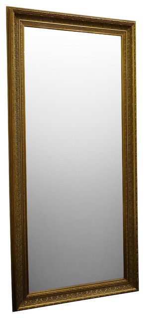 Elegance ornate embossed wood framed floor mirror antique for Gold frame floor mirror