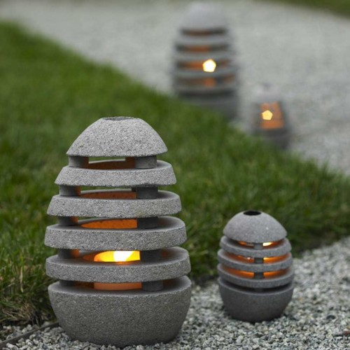 Stone Egg Candle Lanterns - VivaTerra contemporary outdoor lighting