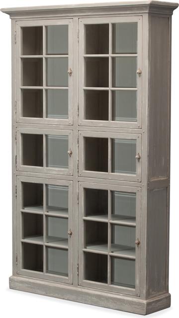 Glass Doors Bookcase, Gray.