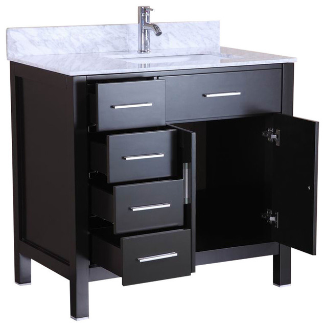 "36"" belvedere bathroom vanity with marble top & backsplash"