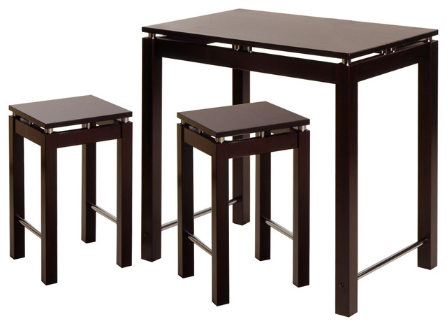Linea 3piece Pub Kitchen Set Island Table With 2 Stools