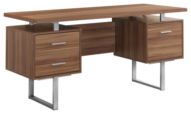 Contemporary Home Office Hollow Core Silver Metal Computer Desk Walnut 60 L Contemporary Desks And Hutches By Monarch Specialties