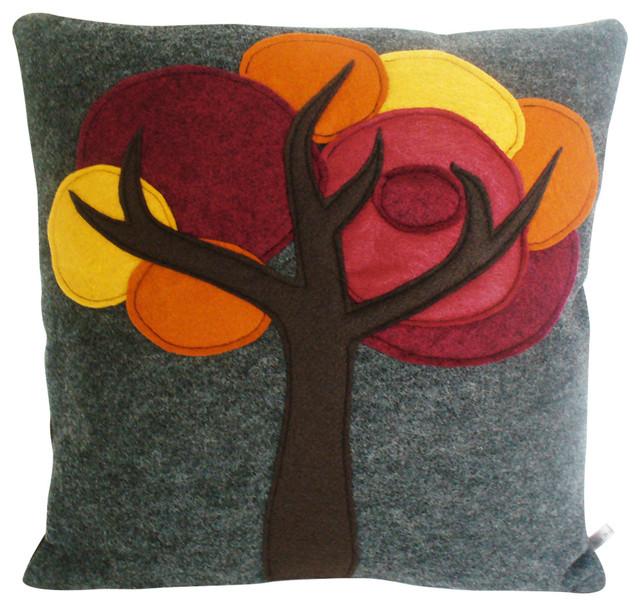 Sheila Weil Studios Felt Tree Pillow - Decorative Pillows Houzz