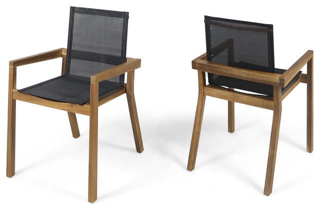 Tremendous Gdf Studio Jimmy Outdoor Acacia Wood And Mesh Dining Chairs Set Of 2 Teak Fini Lamtechconsult Wood Chair Design Ideas Lamtechconsultcom