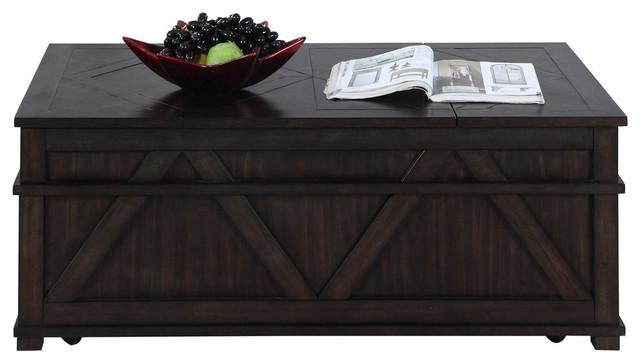 Progressive Foxcroft Storage Coffee Table Trunk Dark Pine