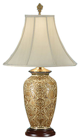 Gold 1 light table lamp hand painted traditional table lamps