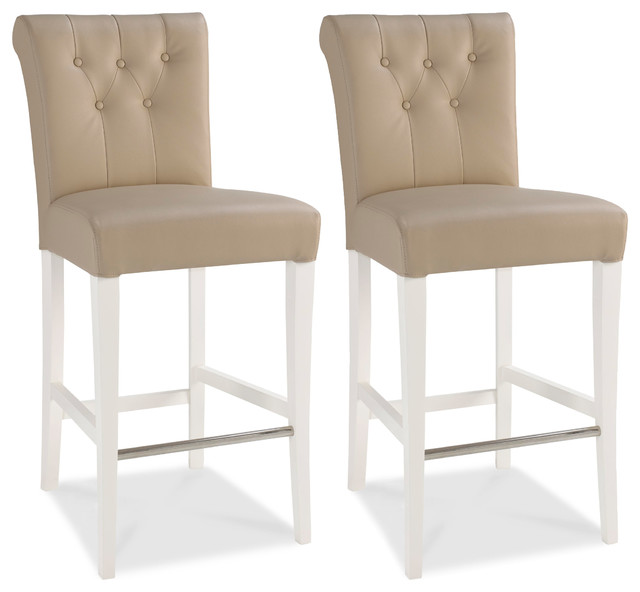 Hertford Roll Back Faux Leather Counter Stools, Set Of 2.