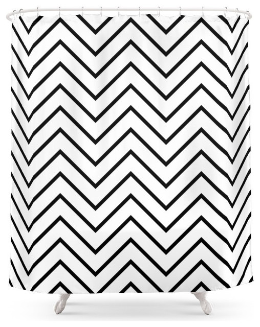 Society6 Black and White Chevron Shower Curtain - Contemporary ...