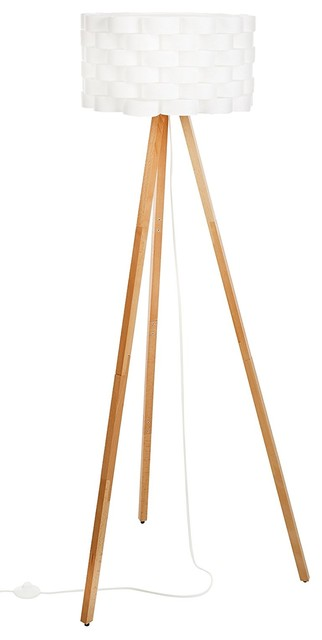 Tripod Floor Lamp Contemporary Design For Modern Living Rooms, Led Natural Wood.