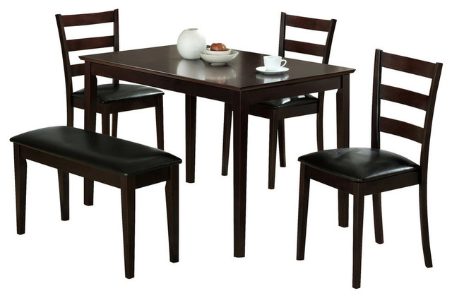 5 Piece Dining Set, Cappuccino Transitional Dining Sets