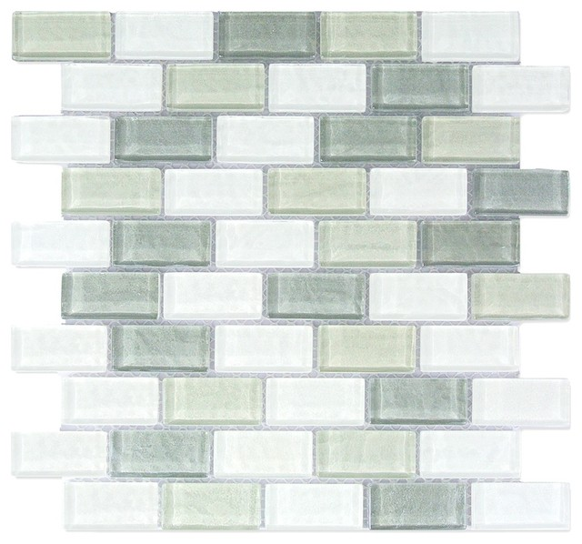 white blue gray glass mosaic wall tile 1 x2 kitchen