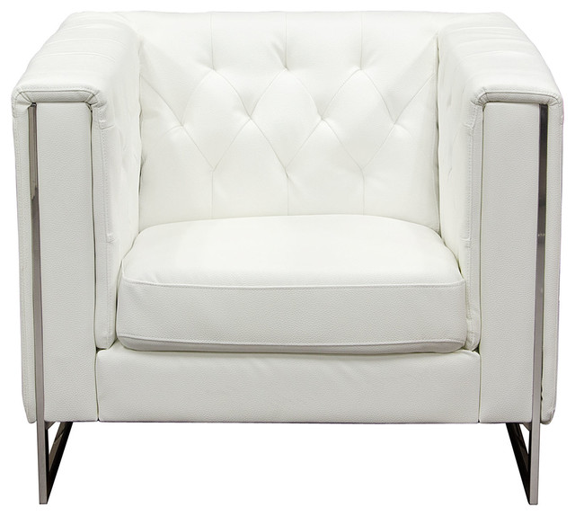 Chelsea Leatherette Chair With Metal Leg, White by Diamond Sofa