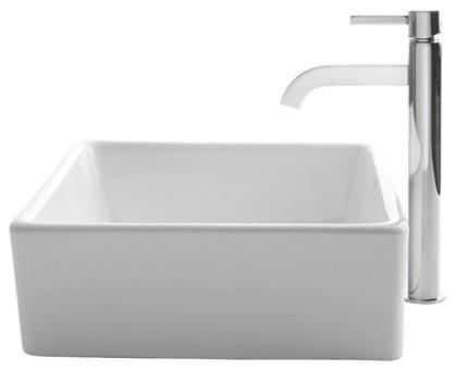 Kraus Square Ceramic Vessel Sink, White, Ramus Faucet, Chrome.