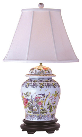 Garden Birds Porcelain Jar Table Lamp.