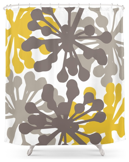 Curtains Ideas botanical shower curtain : Society6 Modern Botanical Print Yellow Brown Shower Curtain ...