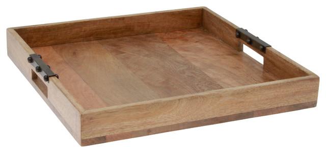 Mango Wood Tray With Metal Handles