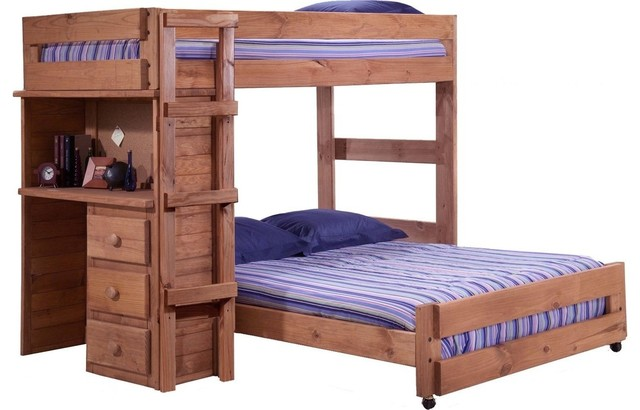 Twin Over Full Loft Bed With Desk End, Mahogany Stain.