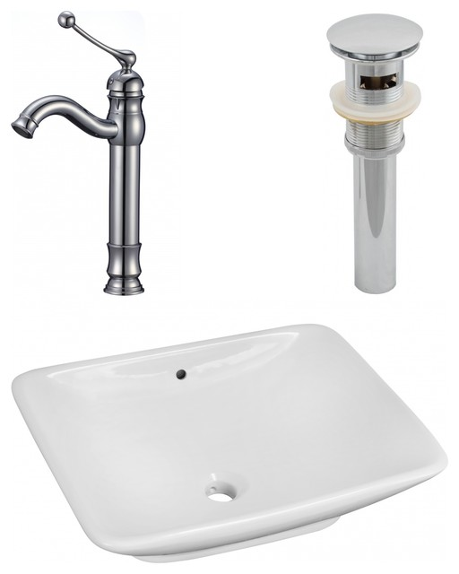 Above Counter Vessel Set For Deck Mount Drilling, Faucet Included, 21.5.