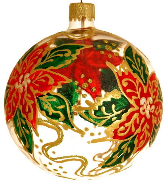 Hand Blown Hand Painted Christmas Ornament Poinsettia Flowers 4