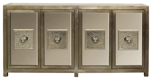 Andes Sideboard Silver Leaf Finish With Antique Beveled Mirror 4 Door