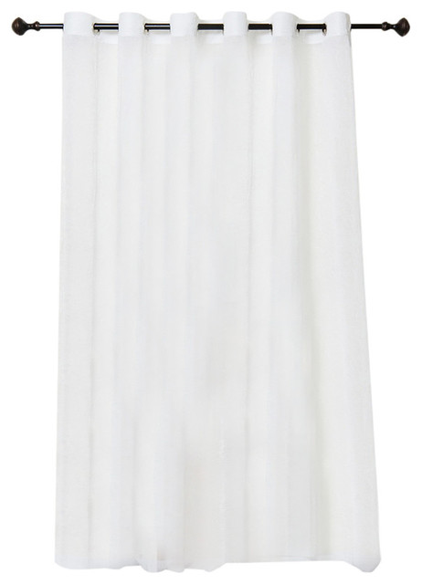 Wide Width Crushed Voile Sheer Grommet Top Curtain, White.