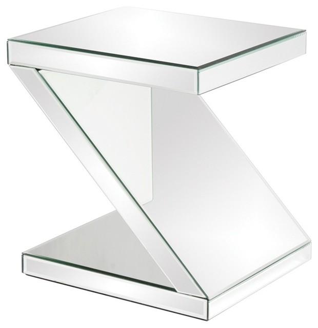 Howard Elliott Z Shaped Mirrored End Table