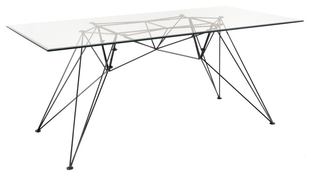 Hairpin Black and Glass Table