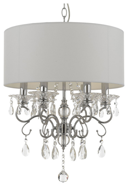 Silver Mist Crystal Drum Shade Chandelier
