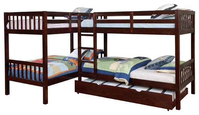 Maddox Twin L Shape Quadruple Bunk Bed With Twin Trundle