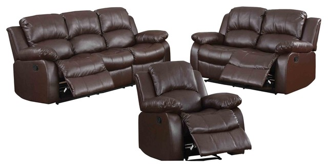 3-Piece Ciabola Set Double Reclining Sofa, Love Seat, Chair Leather Brown