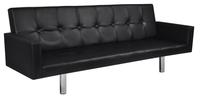 contemporary leather sofa sleeper. vidaxl artificial leather sofa bed with armrests, black contemporary-sleeper -sofas contemporary sleeper