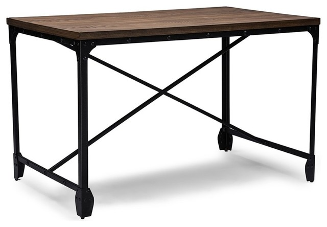 Vintage-Style Greyson Industrial Home Office Wood Desk, Antique-Style Bronze.