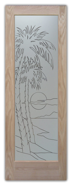 Palm Sunset Pantry Door Frosted Pinstripe
