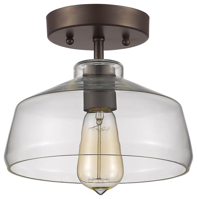 industrial flush mount ceiling lights. Pike Ironclad Semi-Flush Ceiling Light, Bronze Industrial Flush Mount Lights