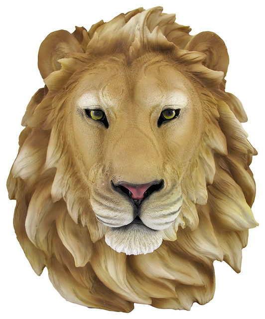 African Lion Head Mount Wall Statue Bust Leo Traditional