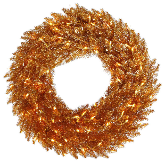 "Fir Wreath, Dura-Lit Led 100 Warm White, Copper, 30""."