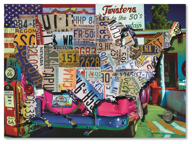 Masters Fine Art \'USA License Plate Map Route 66\' Canvas Art, 14\