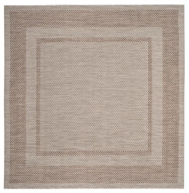 """Greenwich Indoor/outdoor Rug, Beige/brown, 6&x27;7""""x6&x27;7"""" Square."""