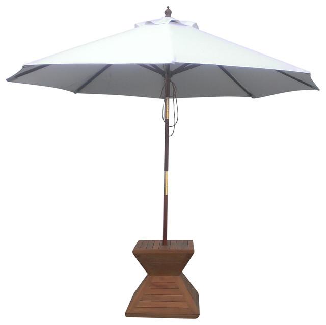 9 Round Umbrella Wooden Pole Contemporary Outdoor Umbrellas
