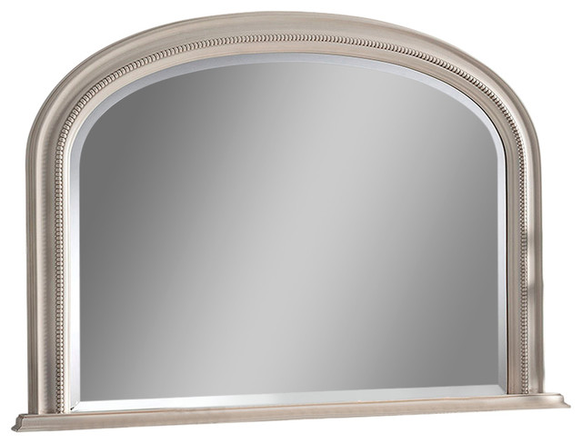 Beaded Overmantel Wall Mirror, 79x112 cm, Ivory