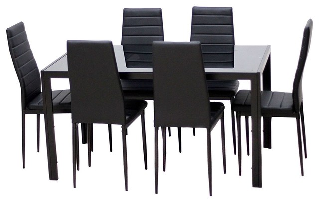 Modern 7 Piece Dining Set With Glass Top Table And 6 Chairs Black