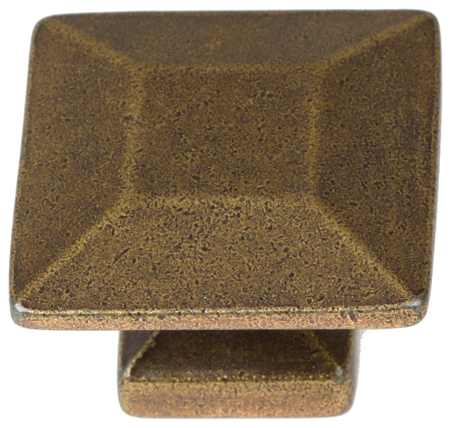 "GlideRite Hardware - 1-3/8"" Square Knob Antique Brass - View in Your Room! 