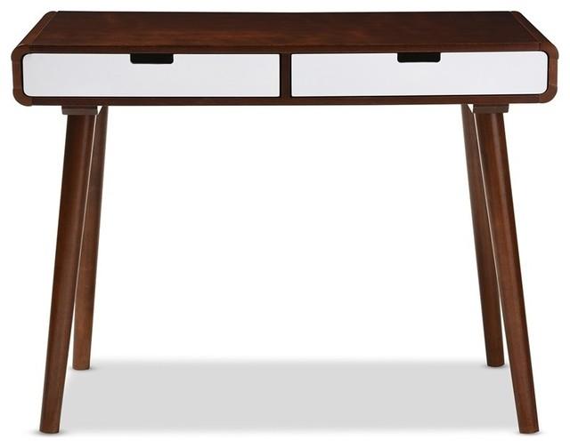 Dark Walnut And White 2 Tone Finish Drawer Wood Writing Desk