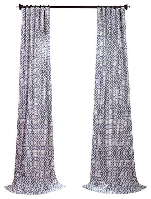 "Nairobi Denim Printed Cotton Curtain Single Panel, 50""x96""."