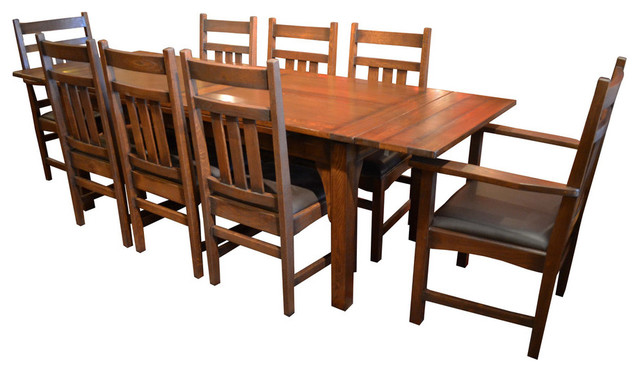 Arts And Crafts Oak Dining Table With 2 Leaves And 8 Dining Chairs, 9