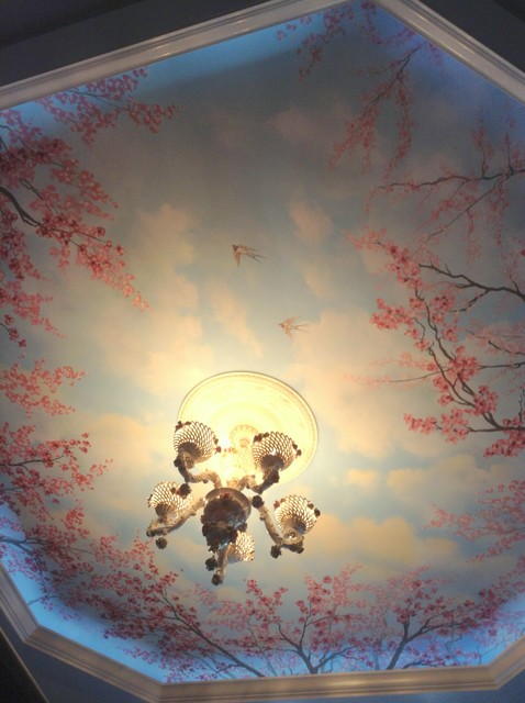 Cherry blossom trees ceiling mural by tom taylor of wow for Cherry blossom mural works