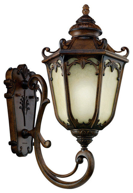 Kichler Brownstone And Umber Etched Seedy Glass Exterior Wall Light  Victorian Outdoor Wall